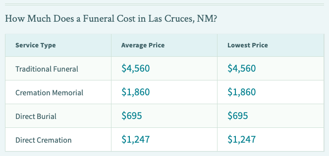 Funeral prices Las Cruces